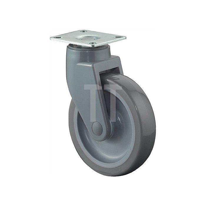 Lenkrolle C100.A83.125 D.100mm Trgf.90kg Platte 77x67mm Rad Ku./Gummi grau