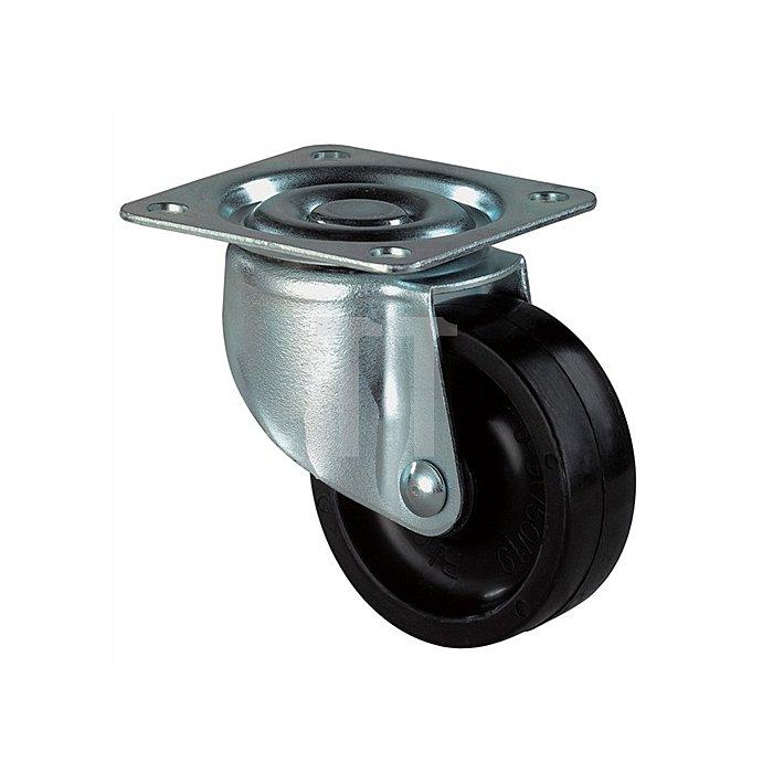 Lenkrolle D. 50mm Bauhöhe 68mm Kunststoffrad f. weiche Böden Bauhöhe 68mm