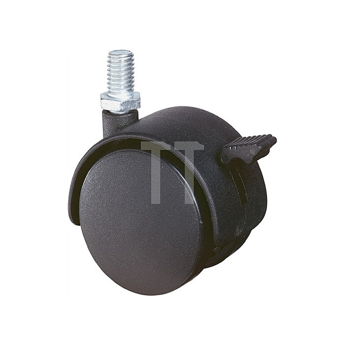 Lenkrolle D.50mm Tragkraft 50kg Kunststoffrad schwarz Gewindestift M10