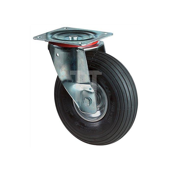 Lenkrolle Duchmesser 400mm Tragfähigkeit 250kg Luft-Rad Platte 150x150mm