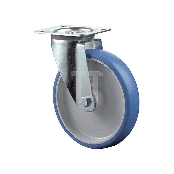 Lenkrolle Durchmesser 125mm Tragfähigkeit 150kg Polyurethanrad Platte 104x80mm
