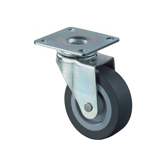 Lenkrolle Durchmesser 25mm Bauhöhe 34mm Gummirad schwarz für harte Böden