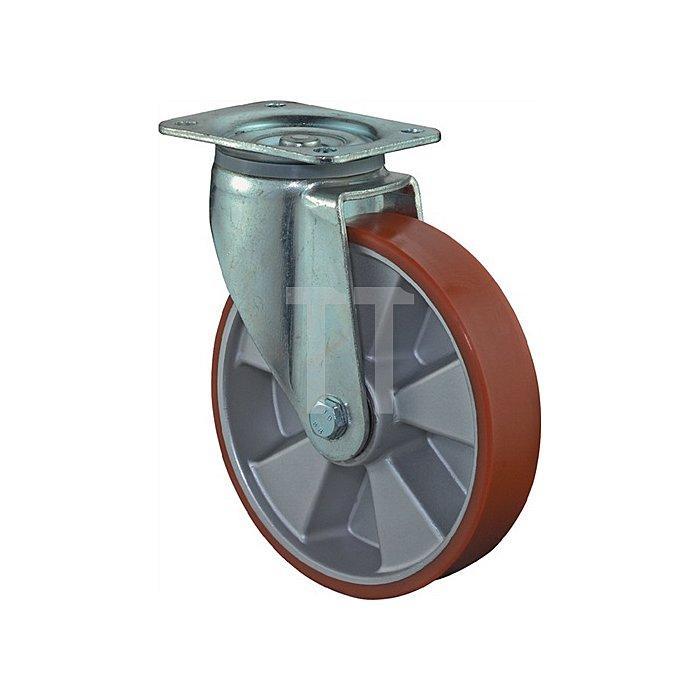 Lenkrolle L600.B90.125 D.125mm Trgf.450kg Platte 135x110mm Rad Alu./Guss-PUR 95