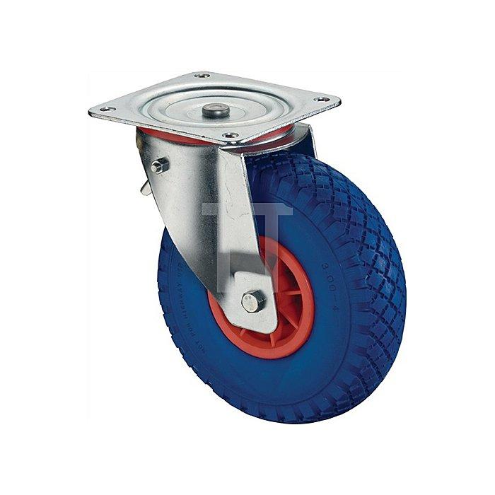 Lenkrolle m. Feststeller D. 260mm Trgf. 160 kg Kunststoff Platte 175x175mm