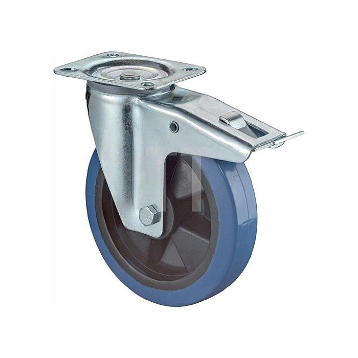 Lenkrolle m.Feststeller D.160mm Tragf.300kg Vollgummirad Platte 138x109mm