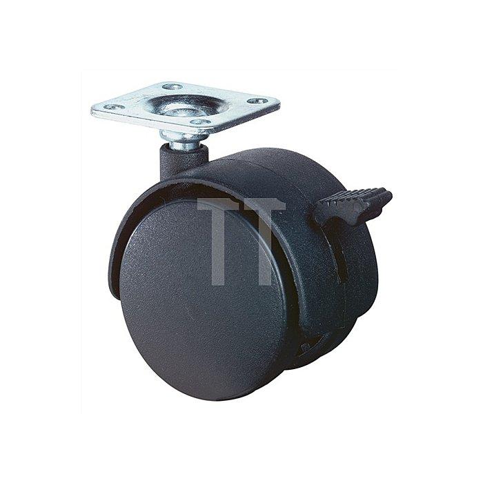 Lenkrolle m.Feststeller D.50mm Trgf.50kg PA-Rad f.weiche Böden Platte 42x42mm