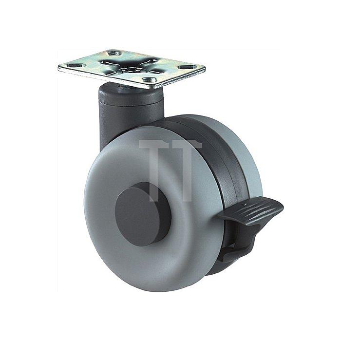 Lenkrolle m.Feststeller D.60mm Tragkraft 40kg Kunststoffrad grau Platte 47x47mm