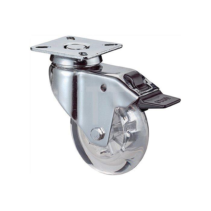 Lenkrolle m.Feststeller D.75mm Tragkraft 50kg Ku.-Rad transparent Platte 60x60mm