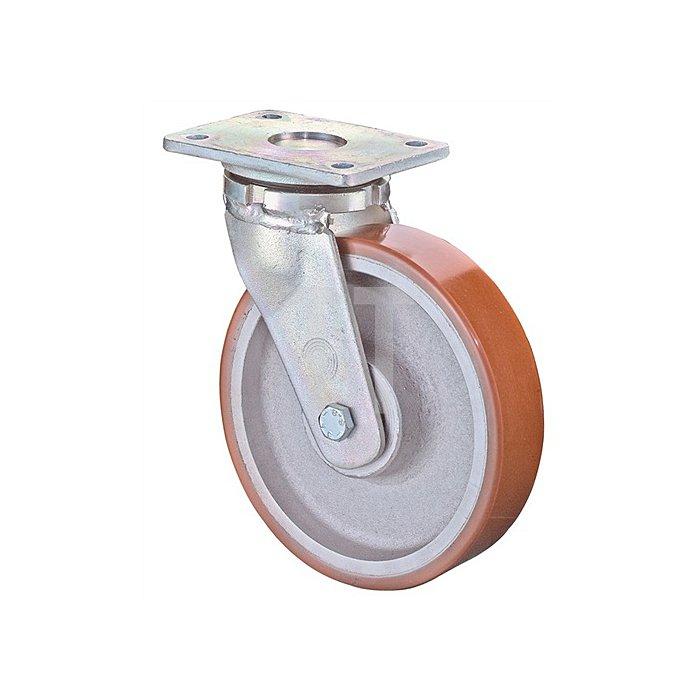 Lenkrolle RR100.C10.202 D.200mm Trgf.1400kg Platte 200x160mm Rad Alu./Guss-PUR95