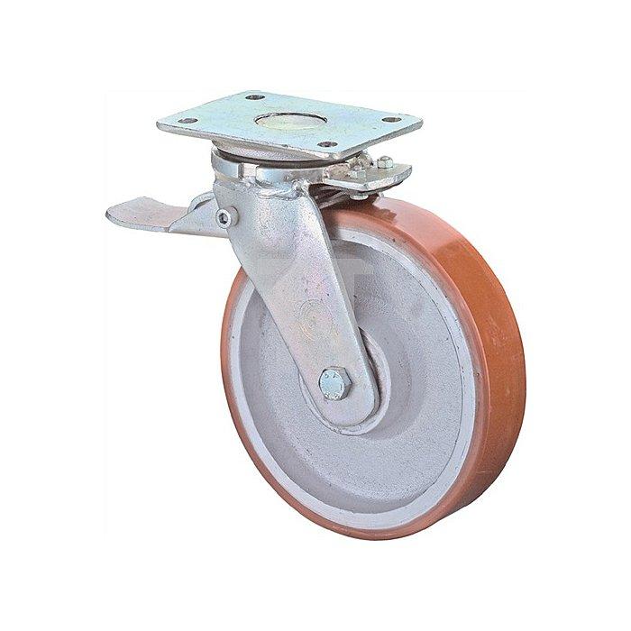 Lenkrolle RR120.C10.101 mit Feststeller D.100mm Trgf.400kg Platte 138x110mm