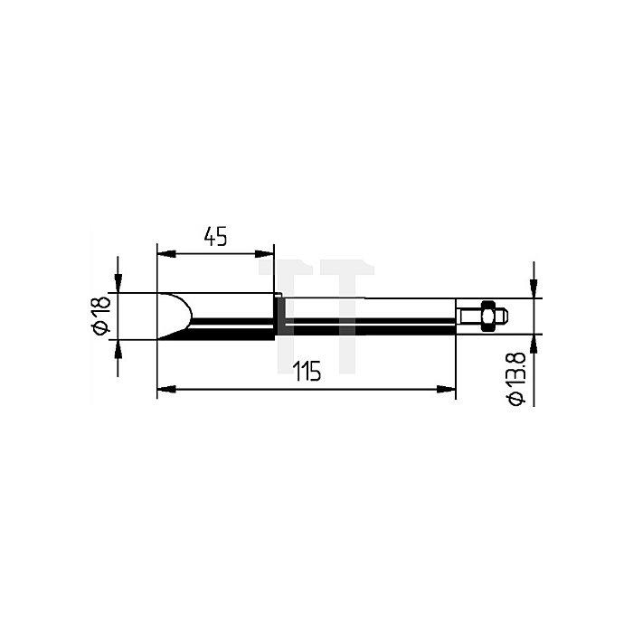 Lötspitze f.Art.Nr.872380 meißelförmig B.18mm vernickelt