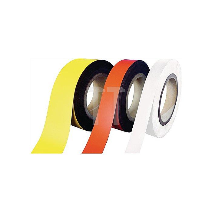 Magnetband weiss B.30mm L.10m/RL beschriftbar z.Schneiden
