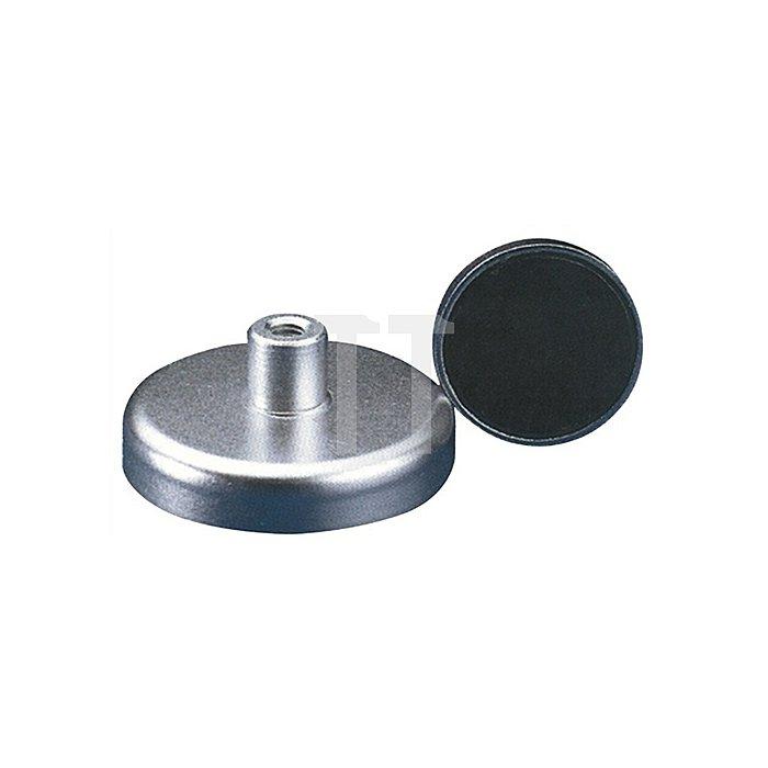 Magnetflachgreifer D.40xH.8mm m.Gewindebuchse Haftkraft 125N