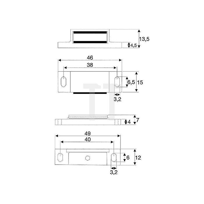 Magnetschnäpper 3-4kg mit Gegenstück beweglich Kunststoff weiss