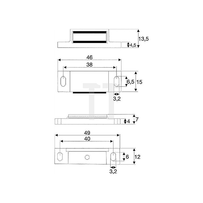 Magnetschnäpper 6kg mit Gegenplatte beweglich Kunststoff braun