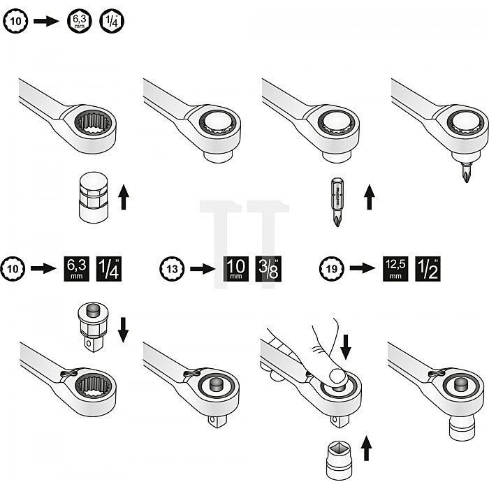 """Matador Adapter für Ratschenschlüssel 6,3mm (1/4"""") - 12,5mm (1/2"""") 0186 0010"""