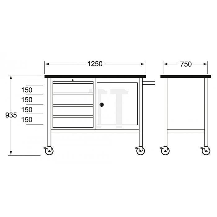 Matador Mobile Werkbank 1250x750x935mm 8156 0011