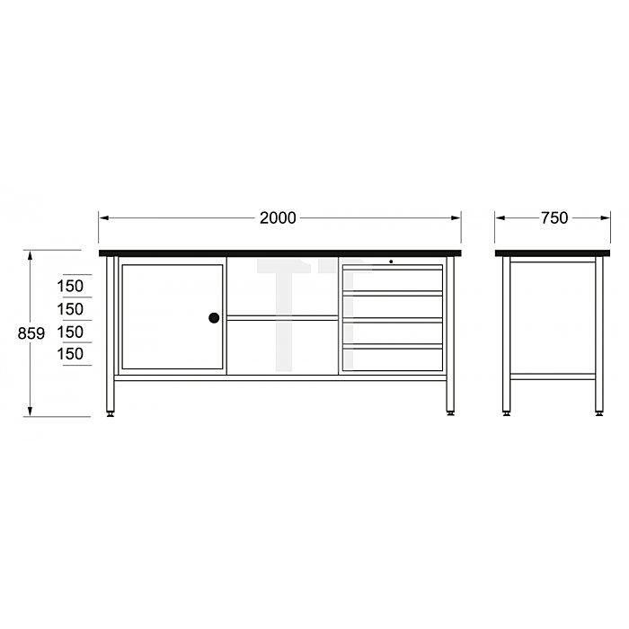 Matador Schwere Werkbank 2000 2000x750x840mm XL 8155 0041