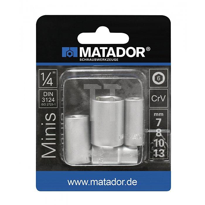 """Matador 1/4"""" Steckschlüssel-Satz Mini 7/8/10/13mm 2075 9040"""