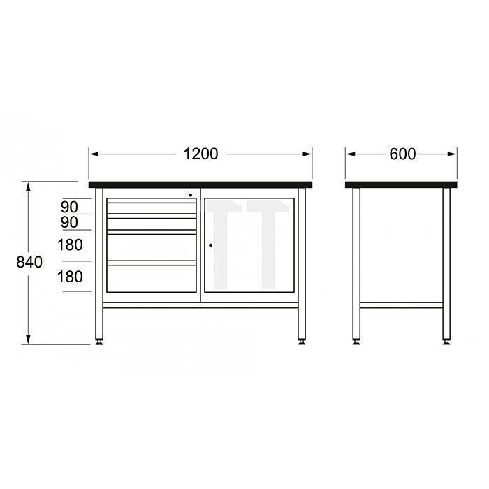 Matador Werkbank 1200 1200x600x840mm D 8154 0050