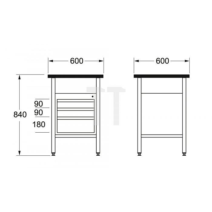 Matador Werkbank 600 600x600x840mm B 8154 0070