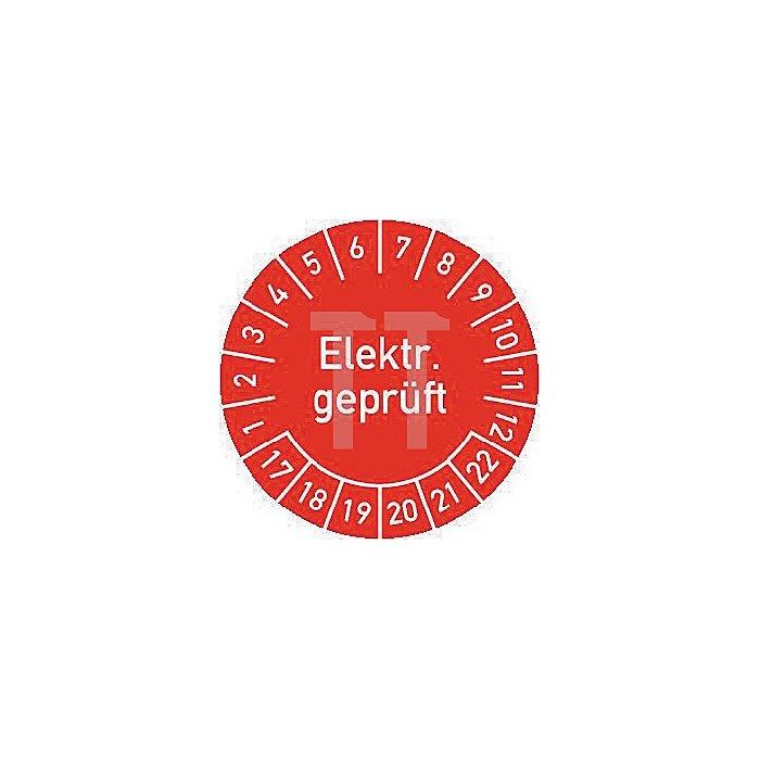 Mehrjahres-Prüfplakette Elektr. Geprüft 2017-2022 30mm selbstkl. Btl. a 100 St.