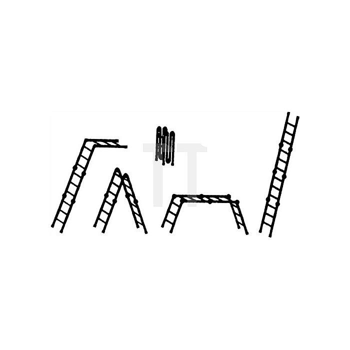 Mehrzweckleiter Alu. 4x3 Sprossen geklappt H350xB990xT250mm