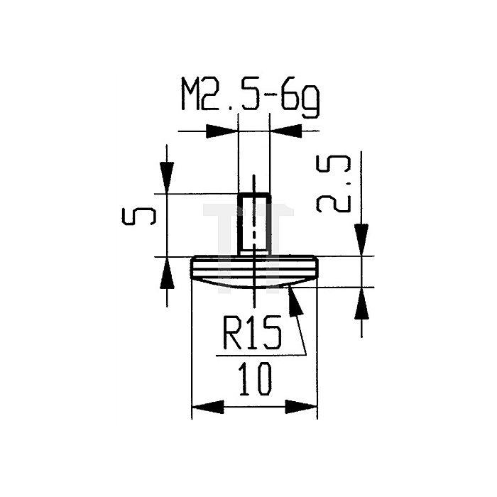 Messeinsatz D.10mm gewölbt Radius 15 HM Gewinde M2,5 f.Messuhren