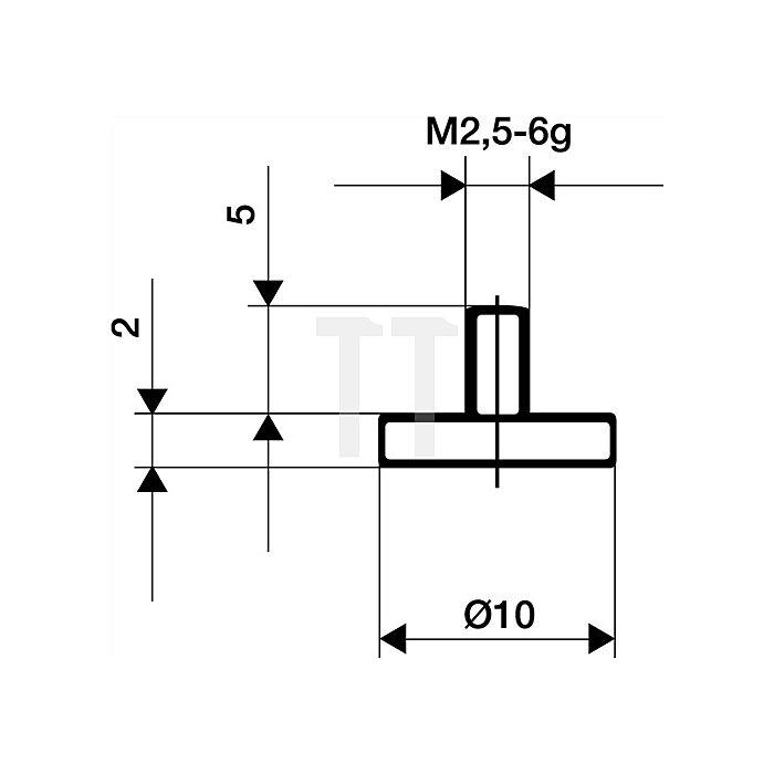 Messeinsatz D.10mm plan Stahl Gewinde M2,5 f.Messuhren