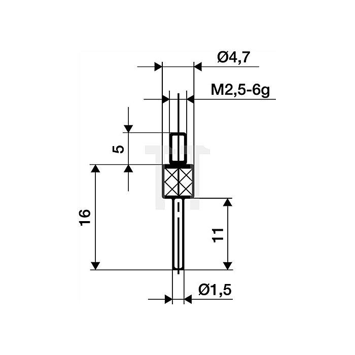 Messeinsatz D.1,5mm L.11mm Stift Stahl Gewinde M2,5 f.Messuhren