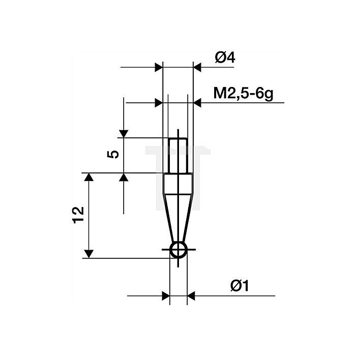 Messeinsatz D.1mm Kugel HM Gewinde M2,5 f.Messuhren