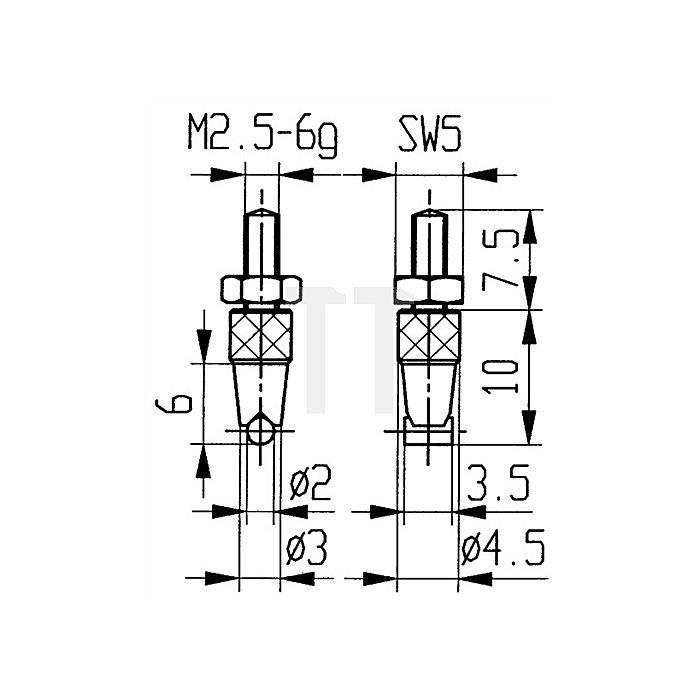 Messeinsatz D.2mm Zylinder horizontal Stahl Gewinde M2,5 f.Messuhren