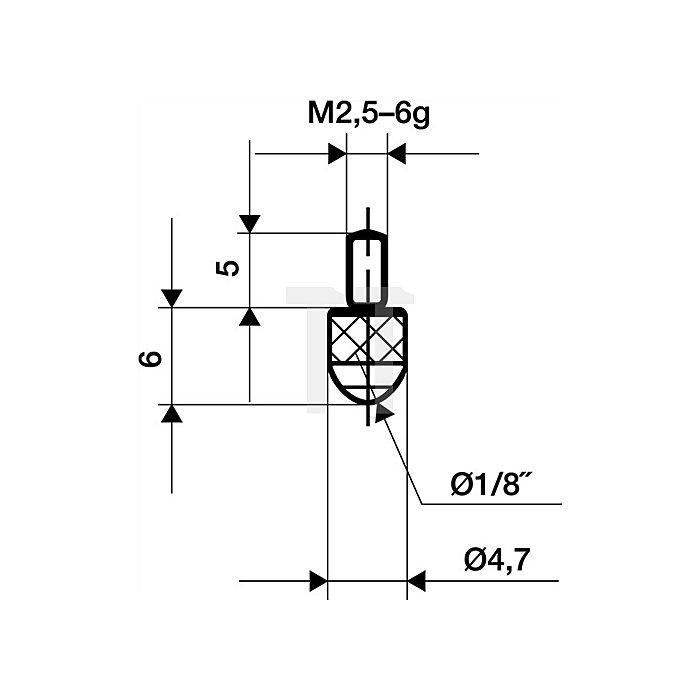 Messeinsatz D.3mm L.6mm Kugel Rubin Gewinde M2,5 f.Messuhren