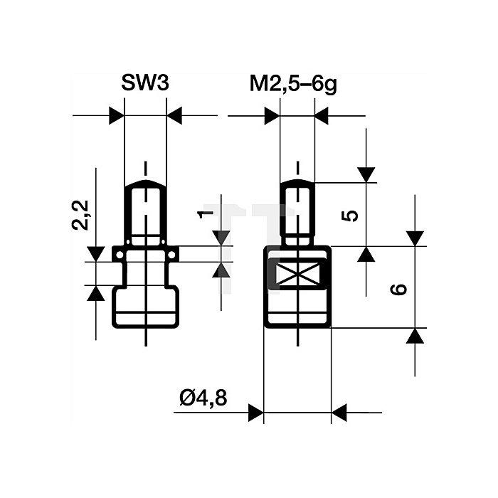 Messeinsatz D.4,8mm plan HM Gewinde M2,5 f.Messuhren