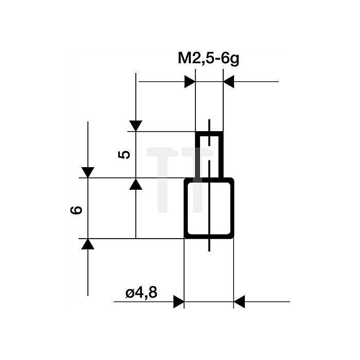 Messeinsatz D.4,8mm plan Stahl Gewinde M2,5 f.Messuhren