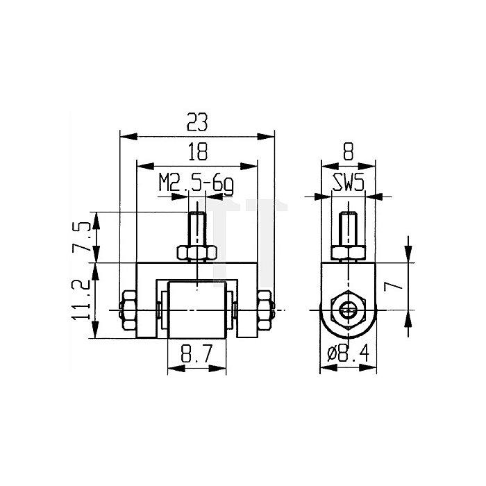 Messeinsatz D.8,4mm Rolle Stahl Gewinde M2,5 f.Messuhren