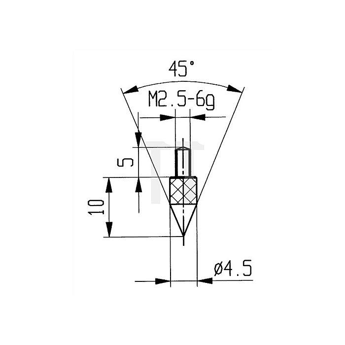 Messeinsatz Kegel 45Grad Stahl Gewinde M2,5 f.Messuhren