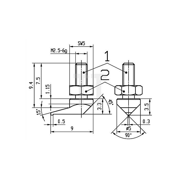 Messeinsatz seitliche Spitze Stahl Gewinde M2,5 f.Messuhren