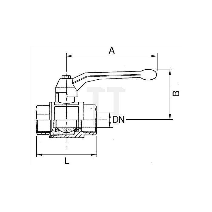 Messing Kugelhahn / G 1 1/2 vernickelt / Innen/Innengewinde valve line