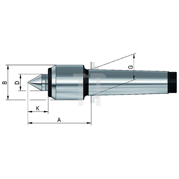 Mitlaufende Zentrierspitzen 60°, MK 2, Größe 02, mit kleinem Gehäusedurchmesser