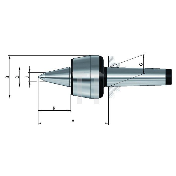 Mitlaufende Zentrierspitzen 60°, MK 5, Größe 110, mit verlängerter Laufspitze