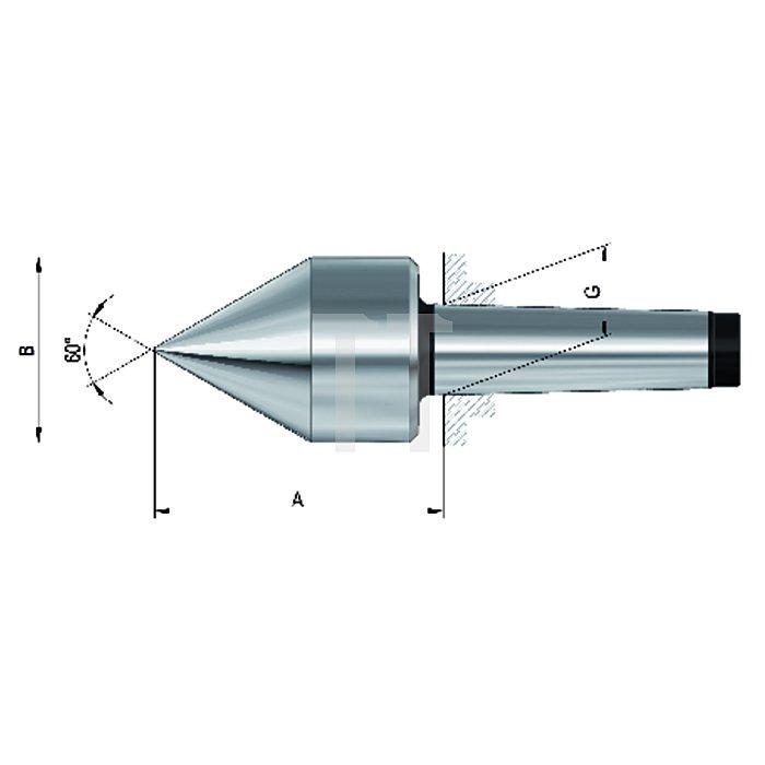 Mitlaufender Zentrierkegel, Aufnahme MK 2, Größe 272, spitz, 60°
