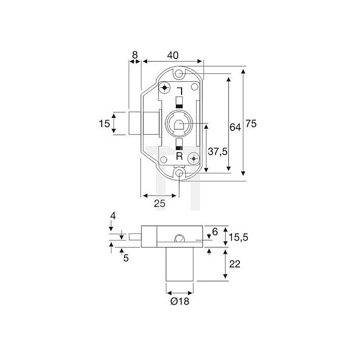Möbel-Drehstangenschloss System 600 verschiedenschließend Dorn 25 Stahl