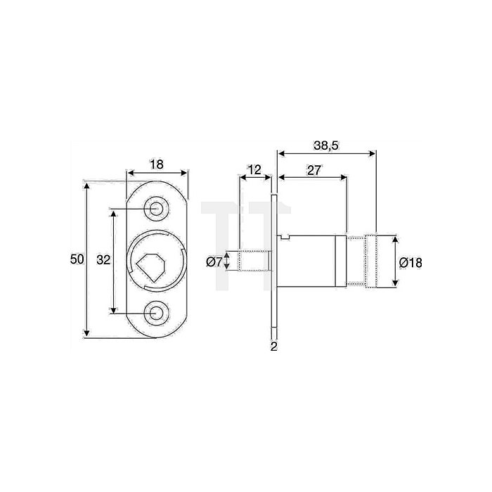 Möbel-Druckzylinder System 600 verschiedenschließend Zamak vernickelt