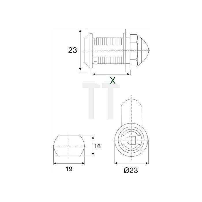 Möbel-Hebelschloss System 600 gleichschließend Stärke bis 22mm Stahl vernickelt