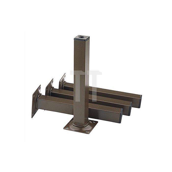 Möbelfuß H. 150mm Tragkraft je Fuß 50kg VK-Stahlrohr 25x25mm schwarz