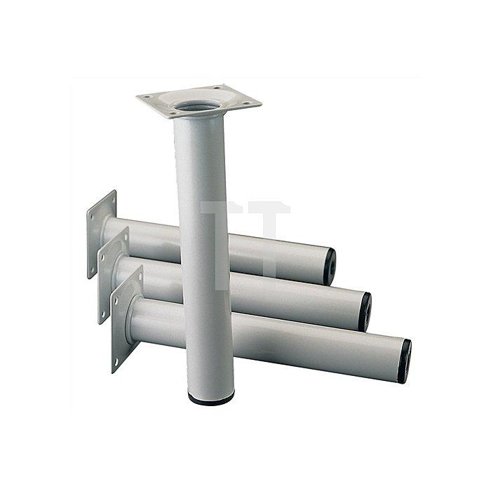 Möbelfuß H. 400mm Tragkraft je Fuß 50kg Stahl-Rundrohr 30mm weissaluminium