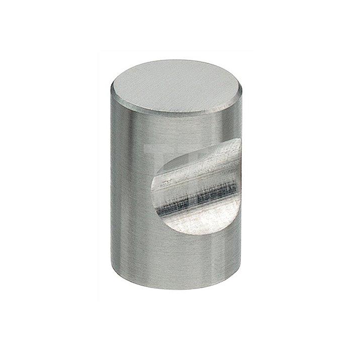 Möbelknopf D. 20mm H. 30mm zylindrisch m. Griffmulde VA matt o. Schrauben