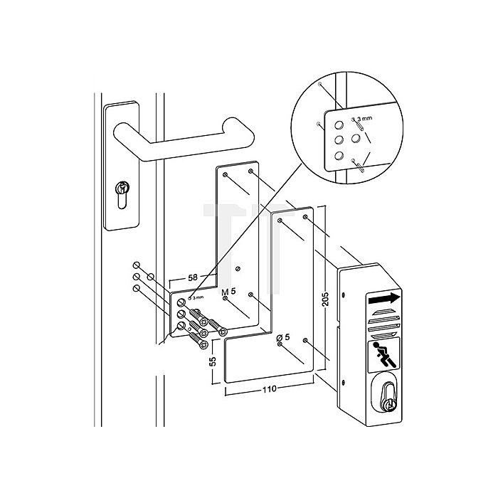 Montageplatte 901 470 DIN li./re.verw.Montage a.Glasrahmen Stahl grün lack.