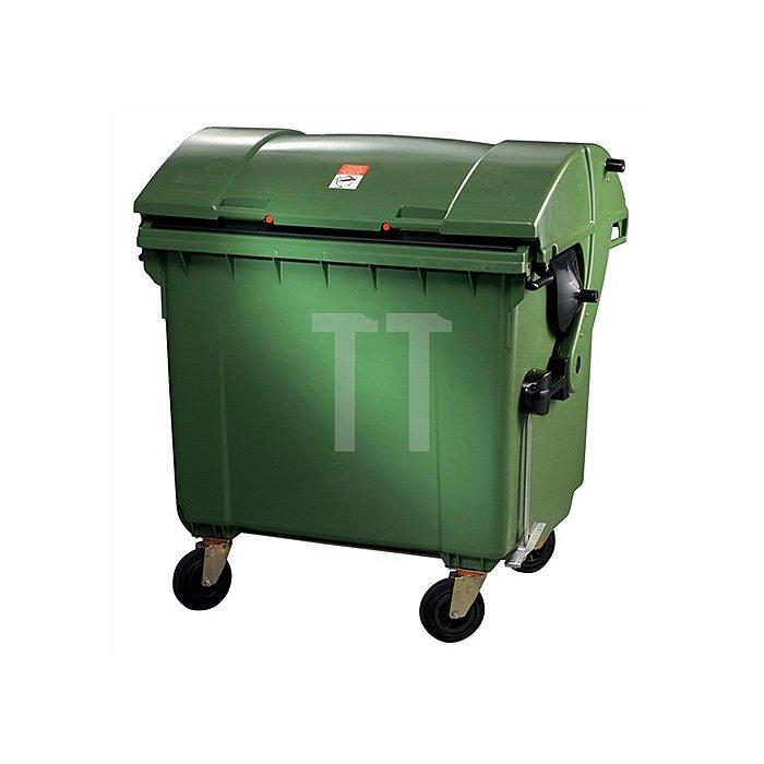 Müllgroßbehälter 1,1m3 Ku.grün 65kg 4Lenkrollen feststellb.